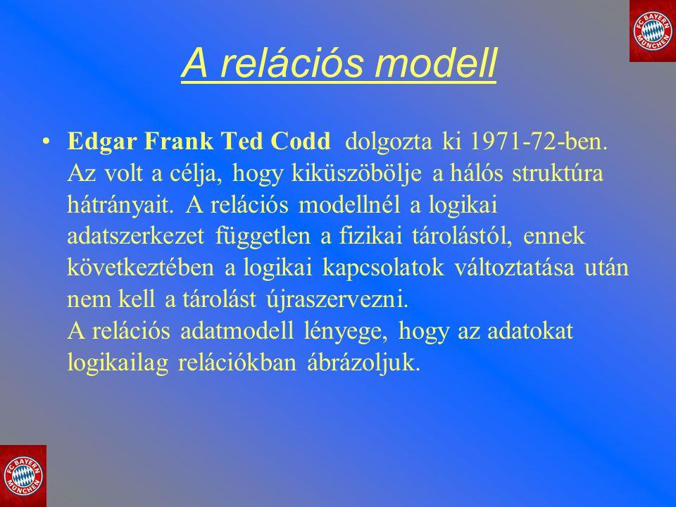 A relációs modell Edgar Frank Ted Codd dolgozta ki 1971-72-ben. Az volt a célja, hogy kiküszöbölje a hálós struktúra hátrányait. A relációs modellnél