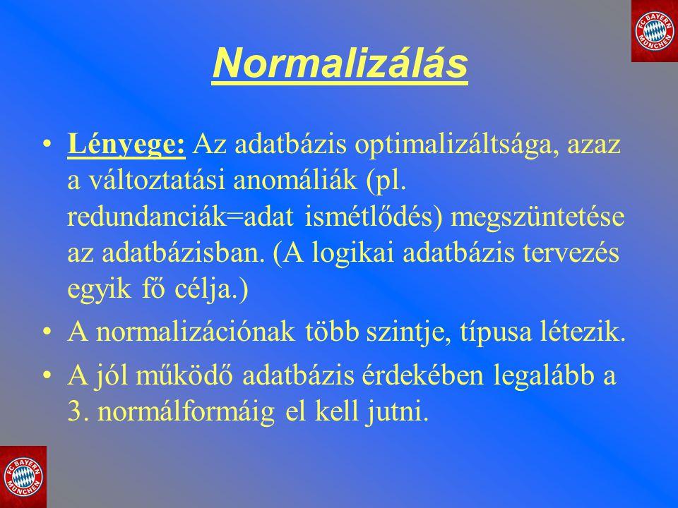 Normalizálás Lényege: Az adatbázis optimalizáltsága, azaz a változtatási anomáliák (pl. redundanciák=adat ismétlődés) megszüntetése az adatbázisban. (