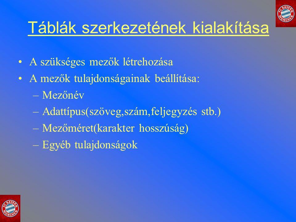 Táblák szerkezetének kialakítása A szükséges mezők létrehozása A mezők tulajdonságainak beállítása: –Mezőnév –Adattípus(szöveg,szám,feljegyzés stb.) –