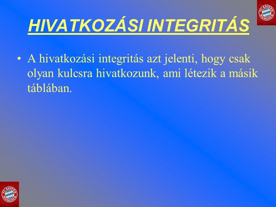HIVATKOZÁSI INTEGRITÁS A hivatkozási integritás azt jelenti, hogy csak olyan kulcsra hivatkozunk, ami létezik a másik táblában.