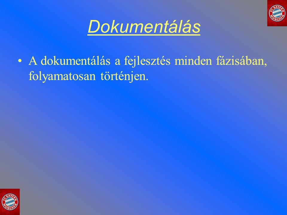 Dokumentálás A dokumentálás a fejlesztés minden fázisában, folyamatosan történjen.