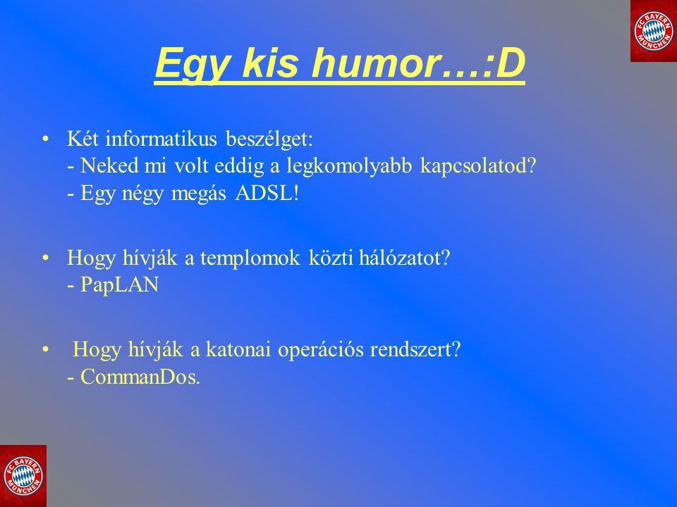 Egy kis humor…:D Két informatikus beszélget: - Neked mi volt eddig a legkomolyabb kapcsolatod? - Egy négy megás ADSL! Hogy hívják a templomok közti há