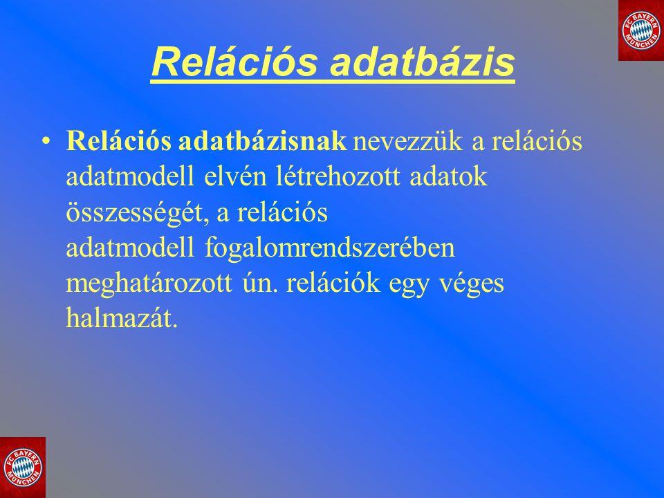 Relációs adatbázis Relációs adatbázisnak nevezzük a relációs adatmodell elvén létrehozott adatok összességét, a relációs adatmodell fogalomrendszerébe