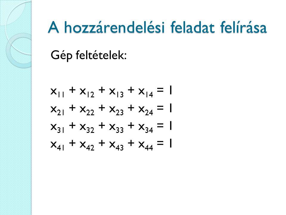 A hozzárendelési feladat felírása Gép feltételek: x 11 + x 12 + x 13 + x 14 = 1 x 21 + x 22 + x 23 + x 24 = 1 x 31 + x 32 + x 33 + x 34 = 1 x 41 + x 4