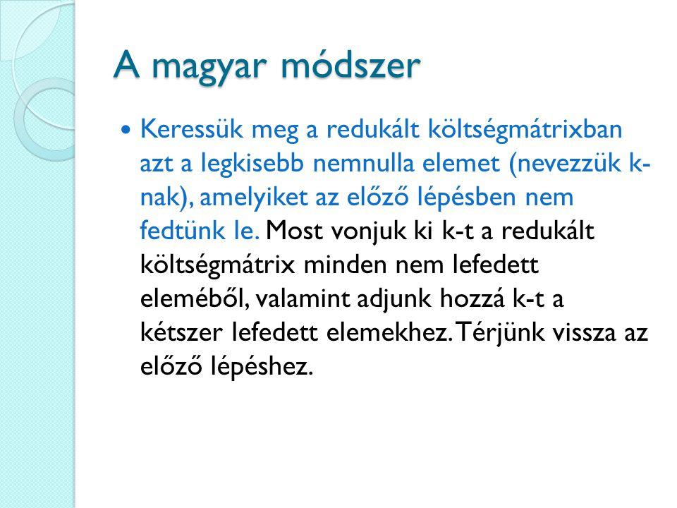 A magyar módszer Keressük meg a redukált költségmátrixban azt a legkisebb nemnulla elemet (nevezzük k- nak), amelyiket az előző lépésben nem fedtünk l