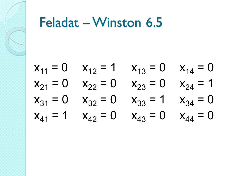 Feladat – Winston 6.5 x 11 = 0 x 21 = 0 x 31 = 0 x 41 = 1 x 12 = 1 x 22 = 0 x 32 = 0 x 42 = 0 x 13 = 0 x 23 = 0 x 33 = 1 x 43 = 0 x 14 = 0 x 24 = 1 x