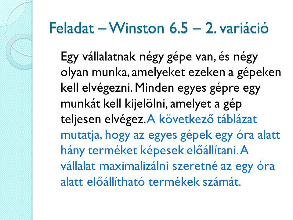 Feladat – Winston 6.5 – 2. variáció Egy vállalatnak négy gépe van, és négy olyan munka, amelyeket ezeken a gépeken kell elvégezni. Minden egyes gépre