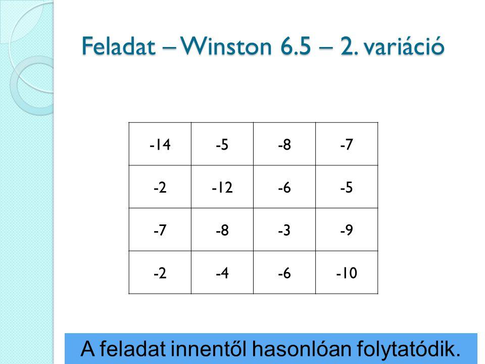 Feladat – Winston 6.5 – 2. variáció -14-5-8-7 -2-12-6-5 -7-8-3-9 -2-4-6-10 A feladat innentől hasonlóan folytatódik.