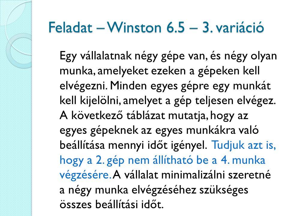 Feladat – Winston 6.5 – 3. variáció Egy vállalatnak négy gépe van, és négy olyan munka, amelyeket ezeken a gépeken kell elvégezni. Minden egyes gépre