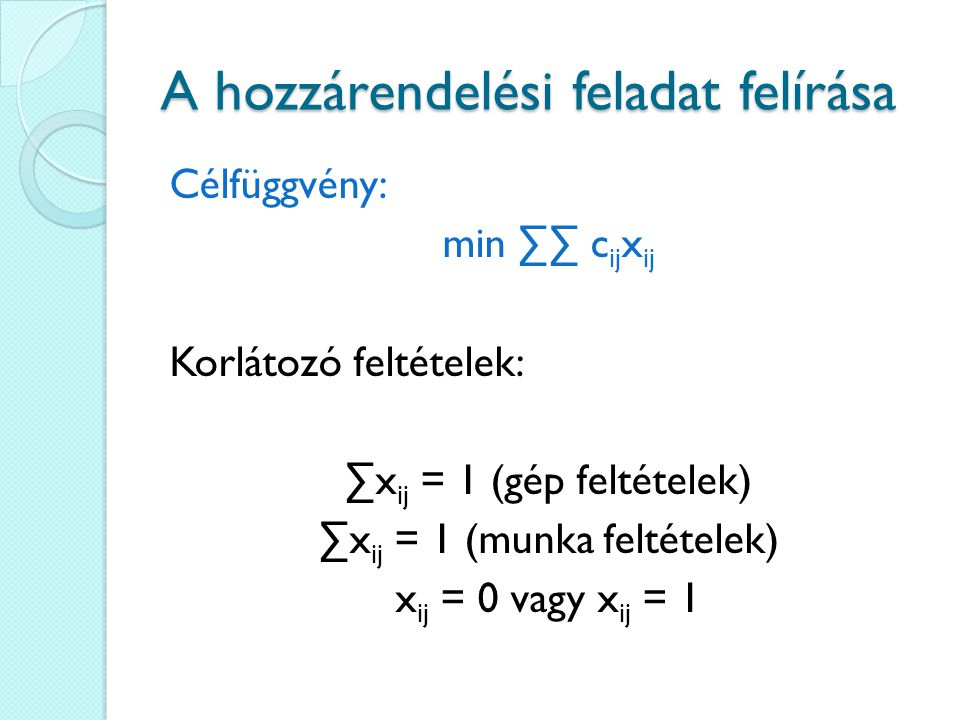 A magyar módszer Keressük meg a redukált költségmátrixban azt a legkisebb nemnulla elemet (nevezzük k- nak), amelyiket az előző lépésben nem fedtünk le.