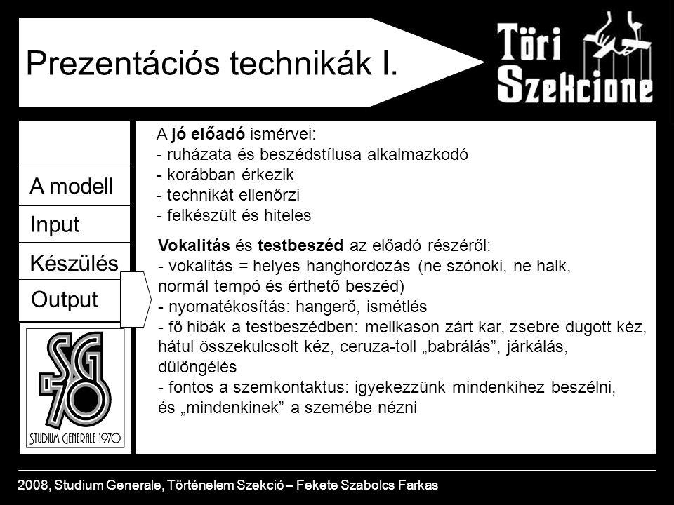 A modell Input Készülés Output 2008, Studium Generale, Történelem Szekció – Fekete Szabolcs Farkas Prezentációs technikák I.