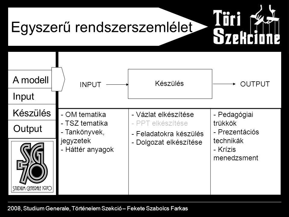 A modell Input Készülés Output 2008, Studium Generale, Történelem Szekció – Fekete Szabolcs Farkas Az OM tematika A Cél: felkészítés a történelem érettségire OM tematika: az érettségi tartalmi és formai követelmé- nyeit tartalmazza Hatékony oktatás feltételei: - az OM tematika részletes ismerete a tanár részéről - az OM tematika megismertetése a diákokkal és használatának tanári támogatása - fokozott hangsúly: a közép és emelt szintű OM követel- mény megkülönböztetése - mindezt indirekt módon: azaz válaszoljuk meg a tematika szakmai kérdéseit az órákon, az előadásba építve - pl.