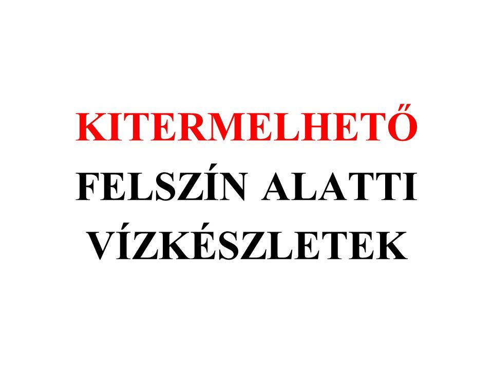 KITERMELHETŐ FELSZÍN ALATTI VÍZKÉSZLETEK