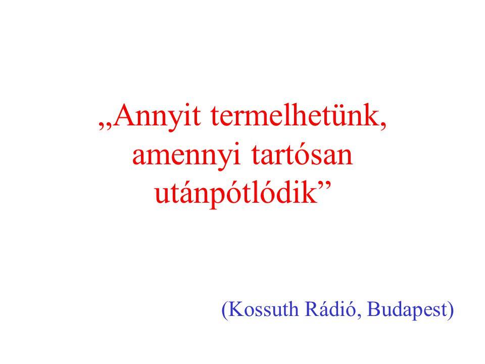 """""""Annyit termelhetünk, amennyi tartósan utánpótlódik"""" (Kossuth Rádió, Budapest)"""