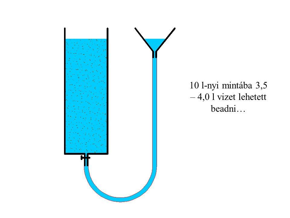 10 l-nyi mintába 3,5 – 4,0 l vizet lehetett beadni…
