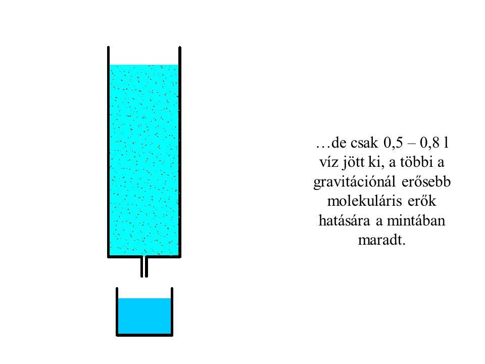 …de csak 0,5 – 0,8 l víz jött ki, a többi a gravitációnál erősebb molekuláris erők hatására a mintában maradt.