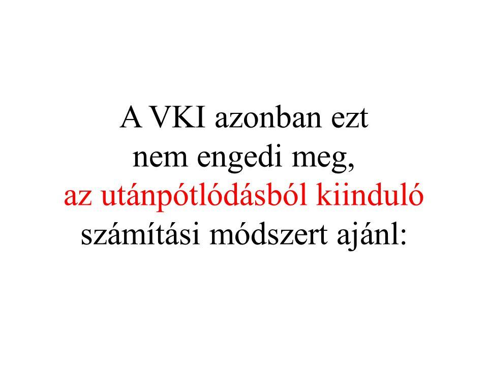 A VKI azonban ezt nem engedi meg, az utánpótlódásból kiinduló számítási módszert ajánl: