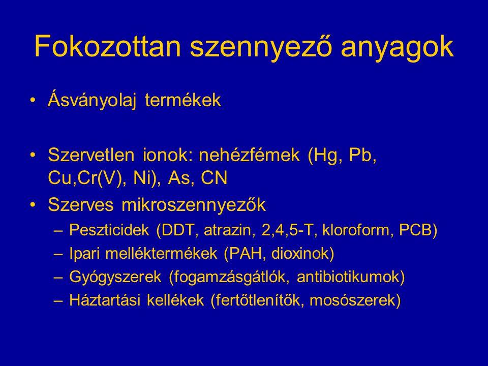 Fokozottan szennyező anyagok Ásványolaj termékek Szervetlen ionok: nehézfémek (Hg, Pb, Cu,Cr(V), Ni), As, CN Szerves mikroszennyezők –Peszticidek (DDT