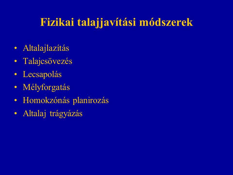 Kémiai talajjavítás Meszezés (5-20 t/ha) Meszes altalj terítés (pl.
