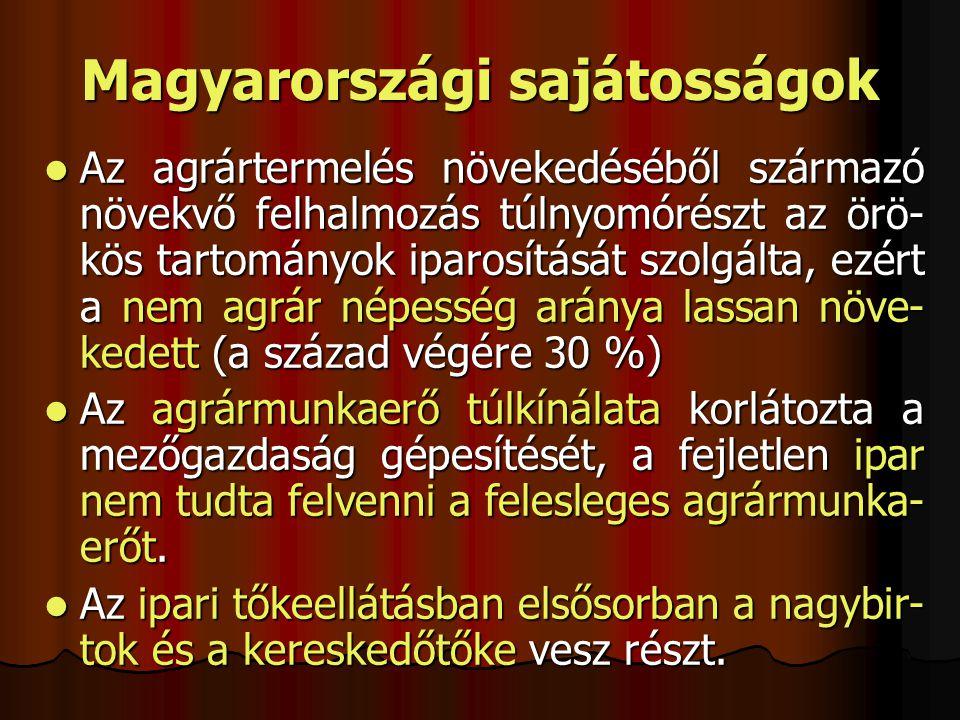 Magyarországi sajátosságok Az agrártermelés növekedéséből származó növekvő felhalmozás túlnyomórészt az örö- kös tartományok iparosítását szolgálta, e