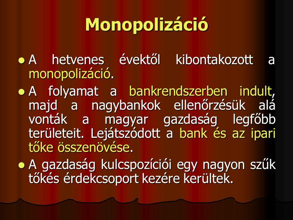 Monopolizáció A hetvenes évektől kibontakozott a monopolizáció. A hetvenes évektől kibontakozott a monopolizáció. A folyamat a bankrendszerben indult,