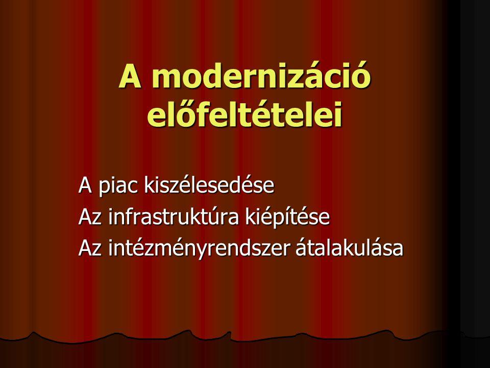 A modernizáció előfeltételei A piac kiszélesedése Az infrastruktúra kiépítése Az intézményrendszer átalakulása