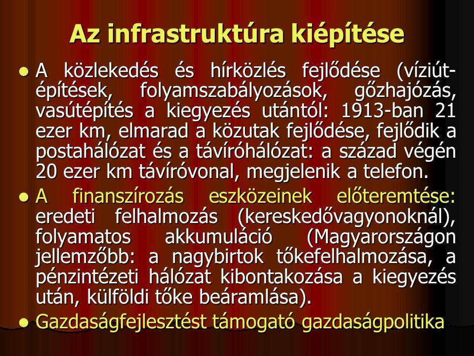 A közlekedés és hírközlés fejlődése (víziút- építések, folyamszabályozások, gőzhajózás, vasútépítés a kiegyezés utántól: 1913-ban 21 ezer km, elmarad