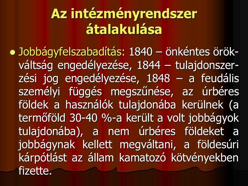 Az intézményrendszer átalakulása Jobbágyfelszabadítás: 1840 – önkéntes örök- váltság engedélyezése, 1844 – tulajdonszer- zési jog engedélyezése, 1848