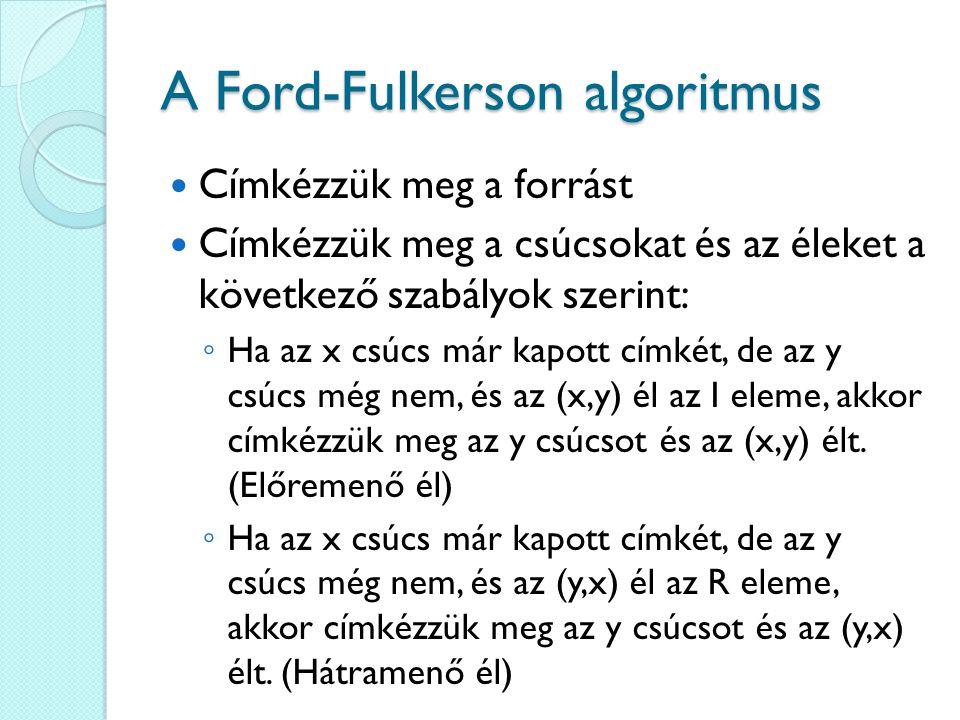 A Ford-Fulkerson algoritmus Címkézzük meg a forrást Címkézzük meg a csúcsokat és az éleket a következő szabályok szerint: ◦ Ha az x csúcs már kapott címkét, de az y csúcs még nem, és az (x,y) él az I eleme, akkor címkézzük meg az y csúcsot és az (x,y) élt.