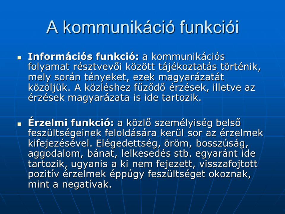 A kommunikáció funkciói Információs funkció: a kommunikációs folyamat résztvevői között tájékoztatás történik, mely során tényeket, ezek magyarázatát