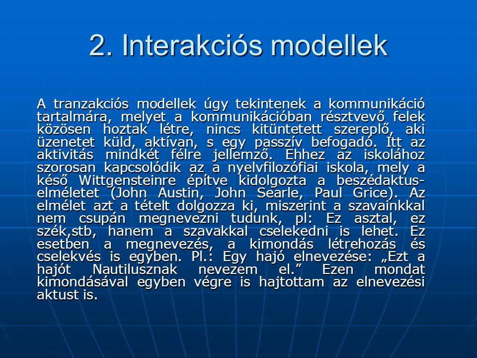 2. Interakciós modellek A tranzakciós modellek úgy tekintenek a kommunikáció tartalmára, melyet a kommunikációban résztvevő felek közösen hoztak létre
