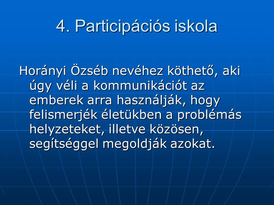 4. Participációs iskola Horányi Özséb nevéhez köthető, aki úgy véli a kommunikációt az emberek arra használják, hogy felismerjék életükben a problémás