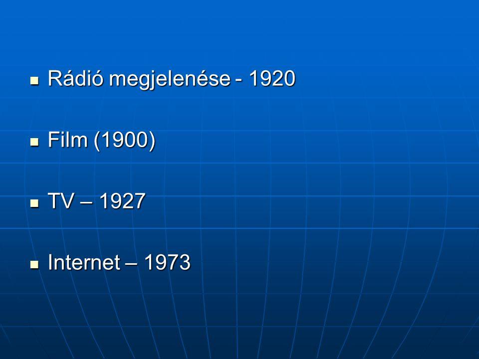 Rádió megjelenése - 1920 Rádió megjelenése - 1920 Film (1900) Film (1900) TV – 1927 TV – 1927 Internet – 1973 Internet – 1973