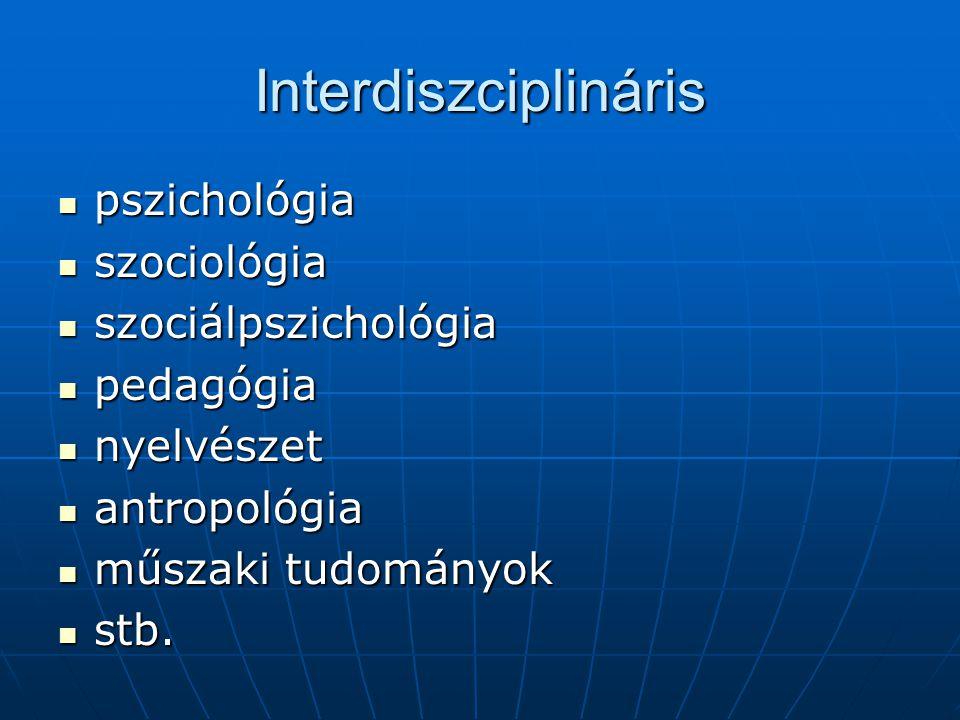 Interdiszciplináris pszichológia pszichológia szociológia szociológia szociálpszichológia szociálpszichológia pedagógia pedagógia nyelvészet nyelvésze
