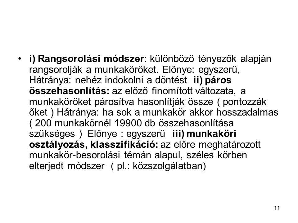 11 i) Rangsorolási módszer: különböző tényezők alapján rangsorolják a munkaköröket.