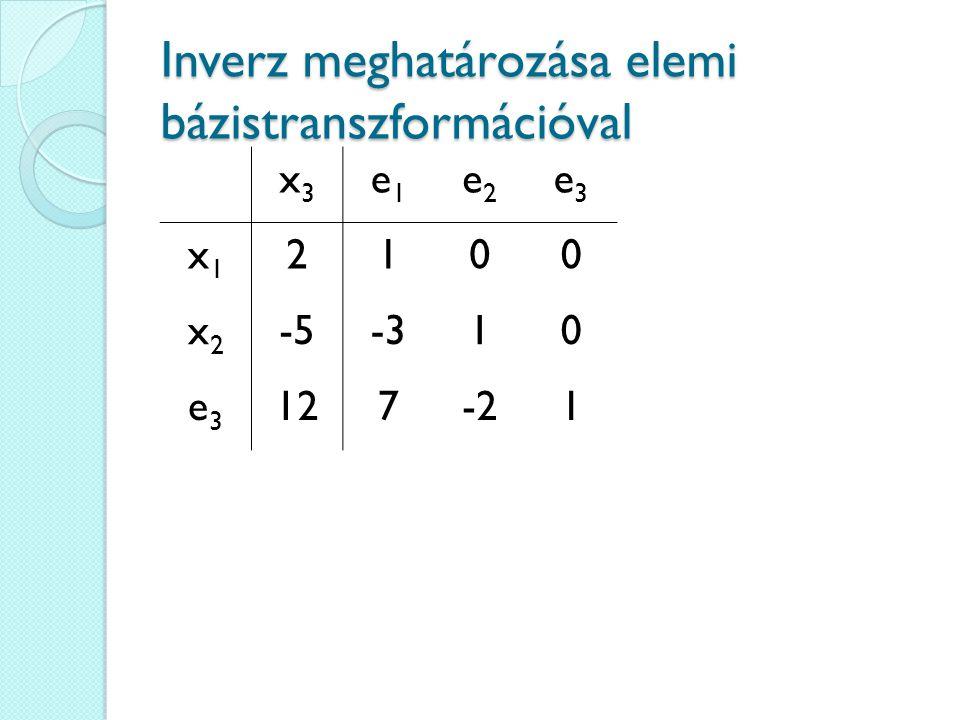 Inverz meghatározása elemi bázistranszformációval x3x3 e1e1 e2e2 e3e3 x1x1 2100 x2x2 -5-310 e3e3 127-21