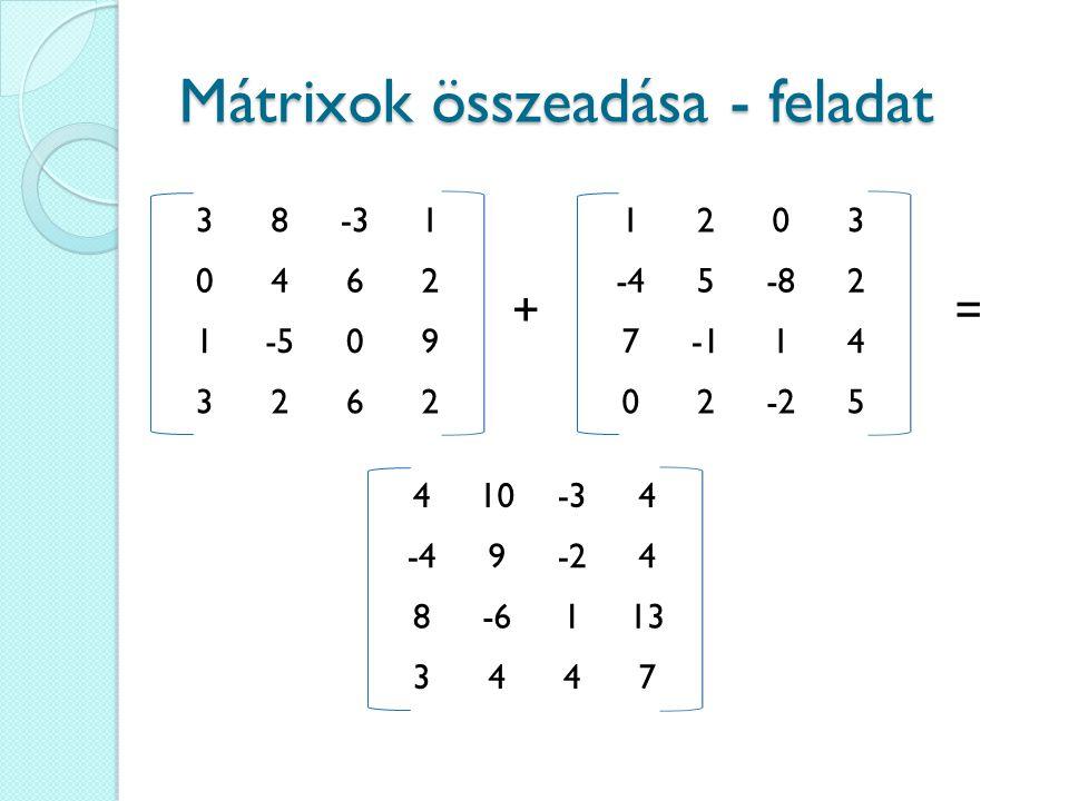 Mátrixok összeadása - feladat 38-31 0462 1-509 3262 + 1203 -45-82 714 02-25 = 410-34 -49-24 8-6113 3447