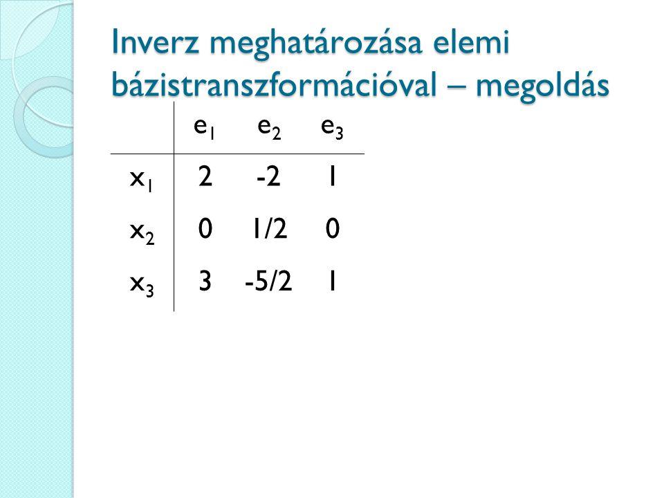 Inverz meghatározása elemi bázistranszformációval – megoldás e1e1 e2e2 e3e3 x1x1 2-21 x2x2 01/20 x3x3 3-5/21