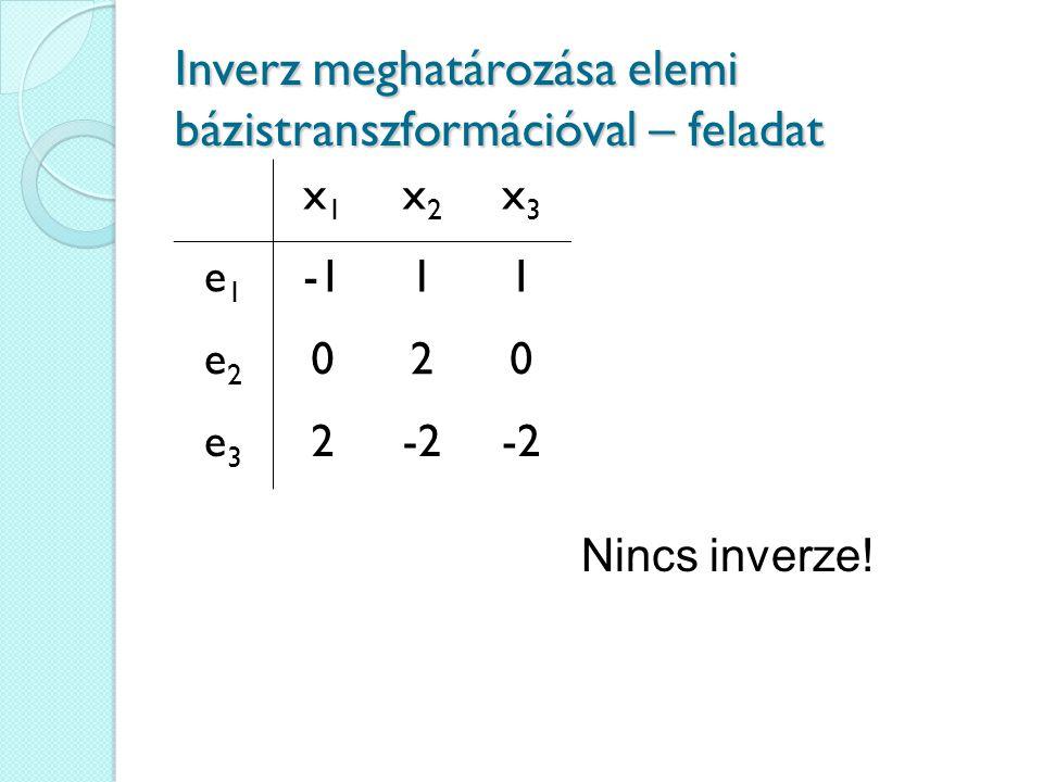 Inverz meghatározása elemi bázistranszformációval – feladat x1x1 x2x2 x3x3 e1e1 11 e2e2 020 e3e3 2-2 Nincs inverze!