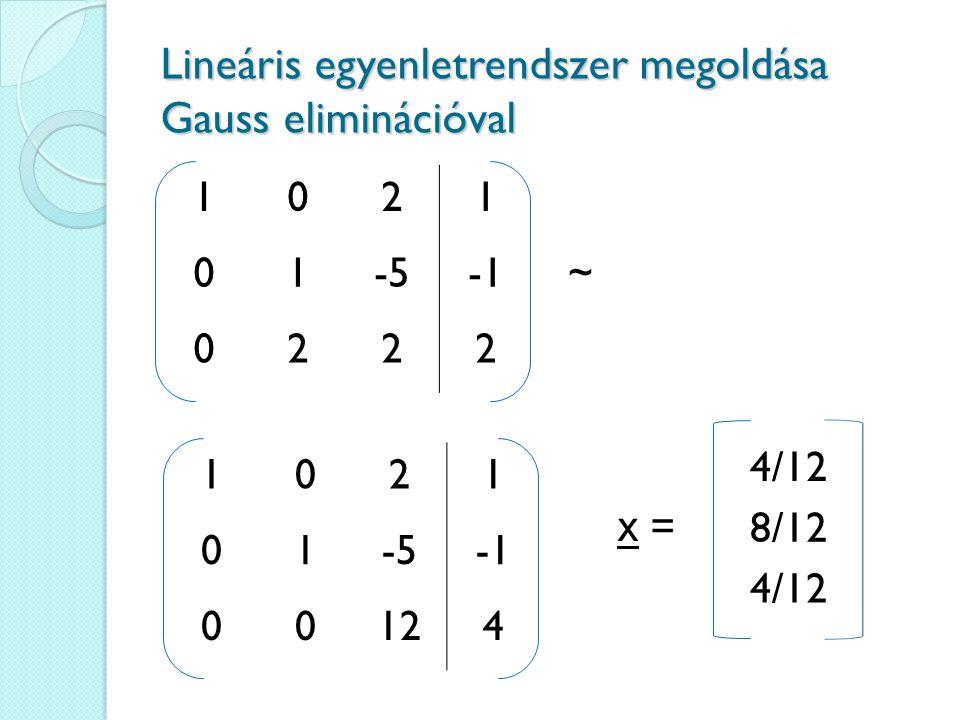 1021 01-5~ 0222 Lineáris egyenletrendszer megoldása Gauss eliminációval 1021 01-5 00124 4/12 8/12 4/12 x =
