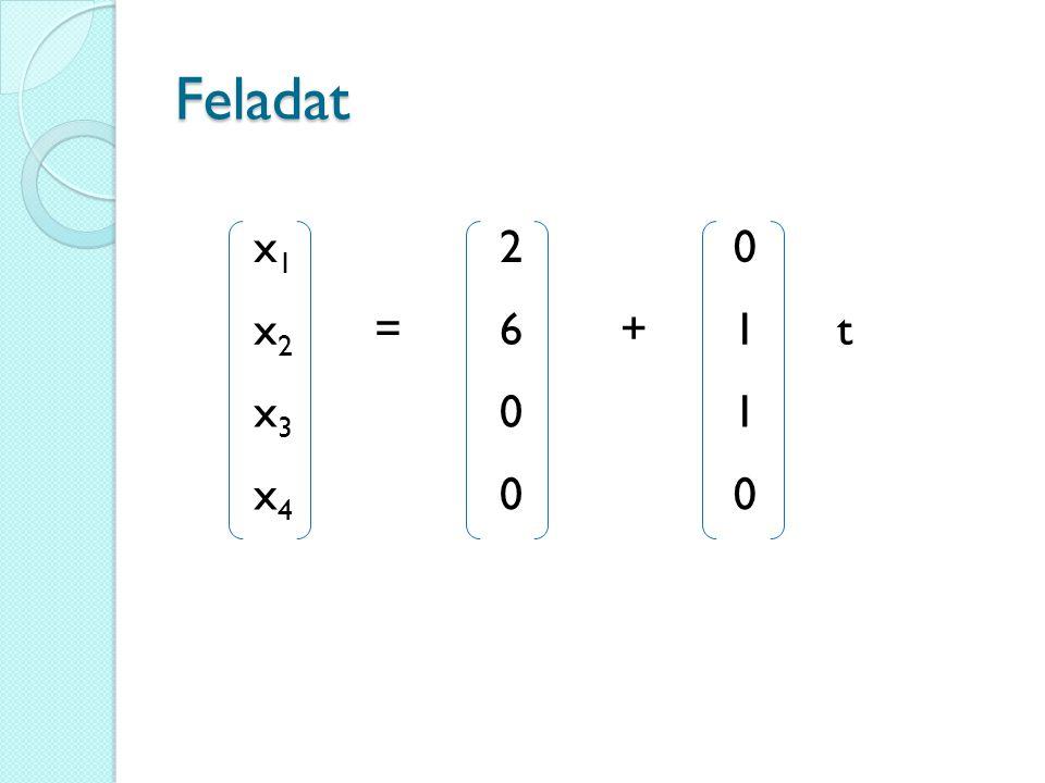 Feladat x1x1 20 x2x2 =6+1t x3x3 01 x4x4 00