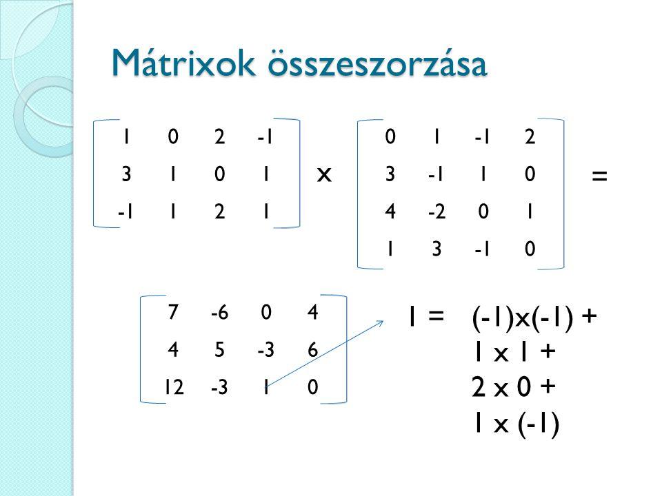 Mátrixok összeszorzása 102 3101 121 x 01 2 3 10 4-201 130 = 7-604 45-36 12-310 1 = (-1)x(-1) + 1 x 1 + 2 x 0 + 1 x (-1)