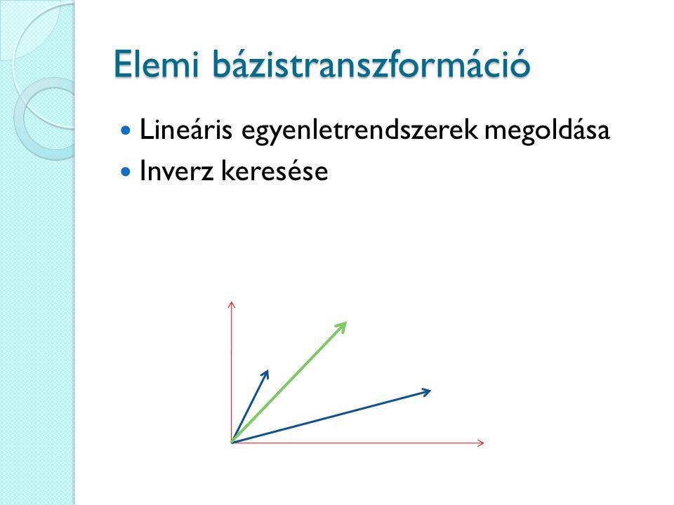 Elemi bázistranszformáció Lineáris egyenletrendszerek megoldása Inverz keresése