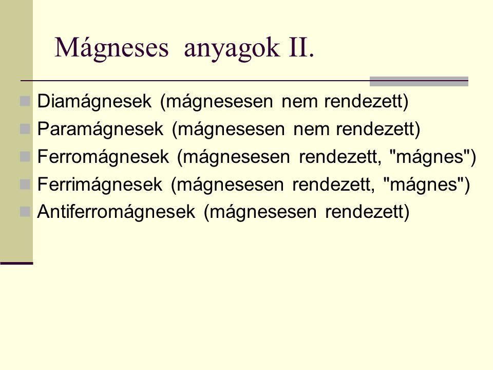 Mágneses anyagok II. Diamágnesek (mágnesesen nem rendezett) Paramágnesek (mágnesesen nem rendezett) Ferromágnesek (mágnesesen rendezett,