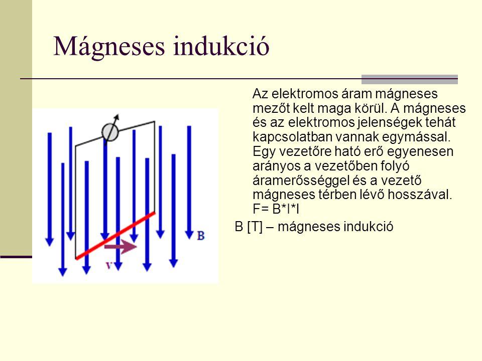 Mágneses indukció Az elektromos áram mágneses mezőt kelt maga körül. A mágneses és az elektromos jelenségek tehát kapcsolatban vannak egymással. Egy v