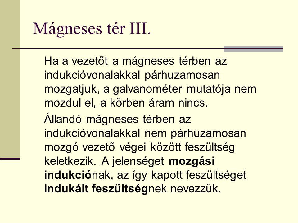 Mágneses tér III. Ha a vezetőt a mágneses térben az indukcióvonalakkal párhuzamosan mozgatjuk, a galvanométer mutatója nem mozdul el, a körben áram ni