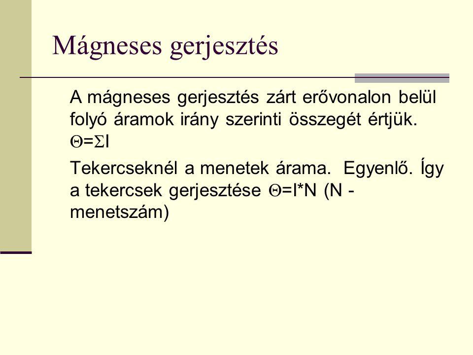 Mágneses gerjesztés A mágneses gerjesztés zárt erővonalon belül folyó áramok irány szerinti összegét értjük.  =  I Tekercseknél a menetek árama. Egy