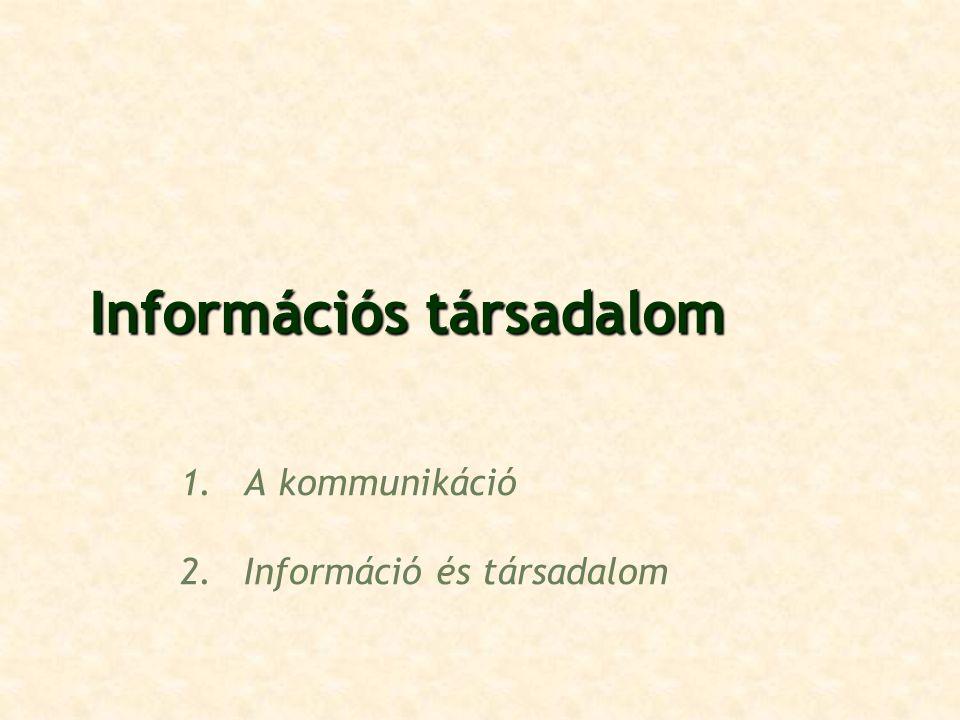 Információs társadalom 1.A kommunikáció 2.Információ és társadalom