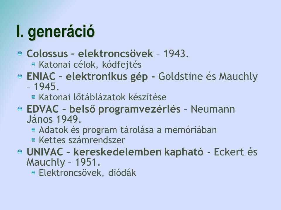I. generáció Colossus – elektroncsövek – 1943. Katonai célok, kódfejtés ENIAC – elektronikus gép - Goldstine és Mauchly – 1945. Katonai lőtáblázatok k