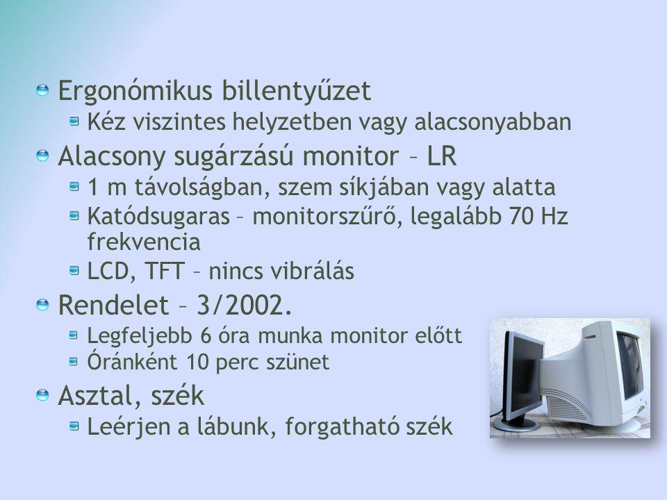Ergonómikus billentyűzet Kéz viszintes helyzetben vagy alacsonyabban Alacsony sugárzású monitor – LR 1 m távolságban, szem síkjában vagy alatta Katóds